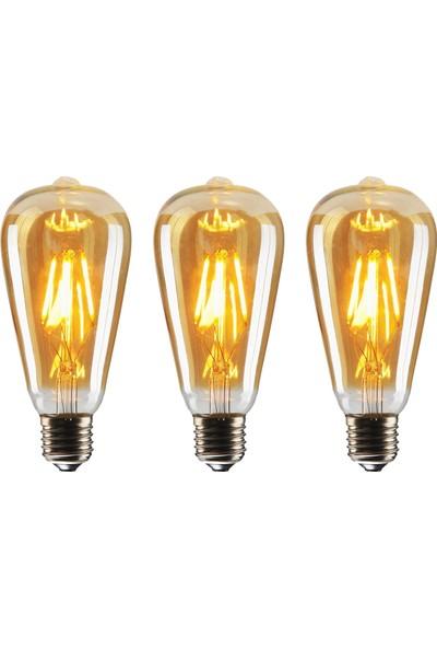 Edison ST64 Flamanlı 4W Rustik LED Ampul 3'lü Paket Dekoratif Vintage Aydınlatma