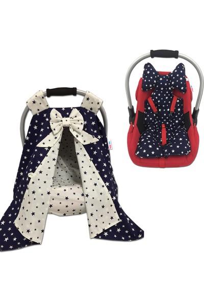 Jaju Baby Lacivert Yıldızlı Puset Örtüsü Çarşaf ve Puset Minderi 3'lü Set