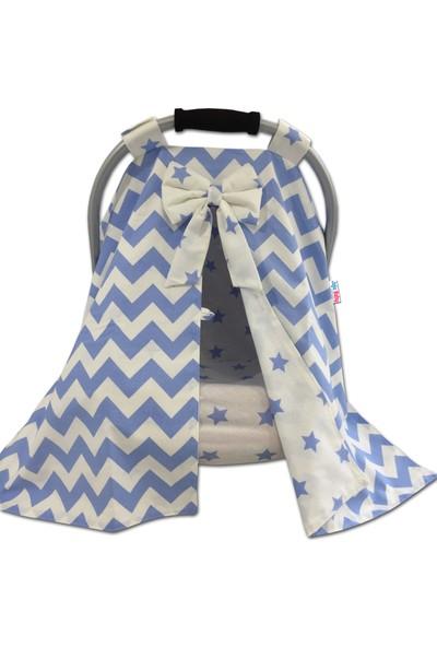 Jaju Baby Mavi Zigzag ve Yıldız Kombinli Puset Örtüsü ve Iç Kılıfı