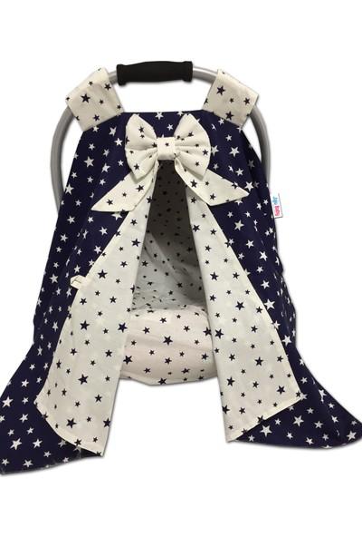 Jaju Baby Lacivert Yıldız Kombinli Puset Örtüsü ve Iç Kılıfı