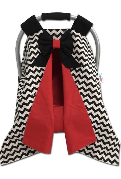 Jaju Baby Siyah Zigzag ve Kırmızı Kombinli Puset Örtüsü ve Iç Kılıfı