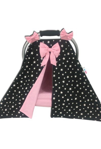 Jaju Baby Siyah Yıldızlı Puset Örtüsü ve Iç Çarşafı