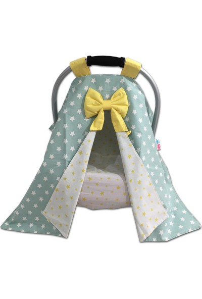 Jaju Baby Yeşil ve Sarı Yıldız Kombinli Puset Örtüsü ve Iç Kılıfı