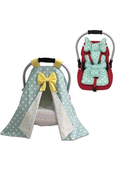 Jaju Baby Yeşil Puset Örtüsü Çarşaf ve Puset Minderi 3'lü Set