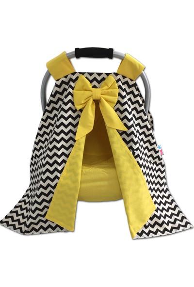 Jaju Baby Siyah Zikzak ve Sarı Kombinli Puset Örtüsü ve Iç Kılıfı