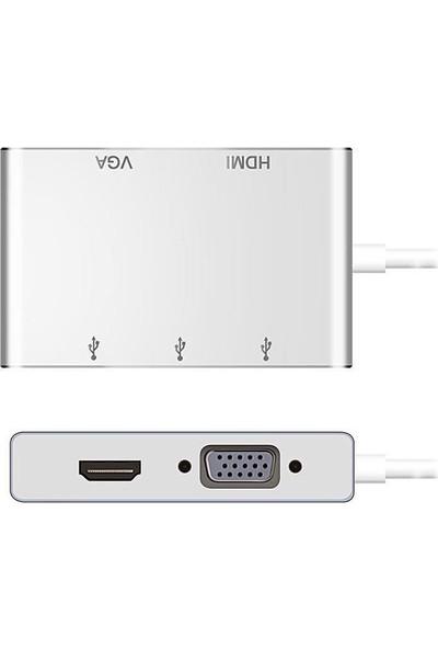 Daytona Macbook Uyumlu 5 in1 USB Type-C To VGA HDMI & USB Adaptör