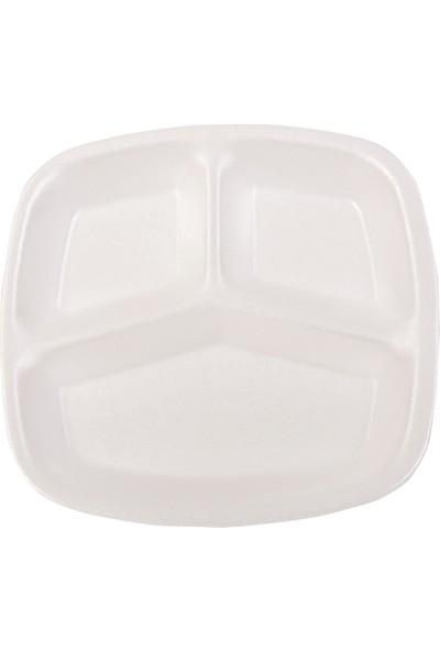 Smartpack Piknik Seti 100 Adet Üç Gözlü Köpük Tabak, 100 Adet Karton Bardak, 100 Adet 6'lı Lüx Set (Kaşık, Çatal, Selpak, Islak Mendil, Tuz, Kürdan)