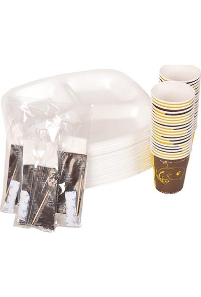 Smartpack Piknik Seti 200 Adet Üç Gözlü Köpük Tabak, 200 Adet Karton Bardak, 200 Adet 6'lı Lüx Set (Kaşık, Çatal, Selpak, Islak Mendil, Tuz, Kürdan)