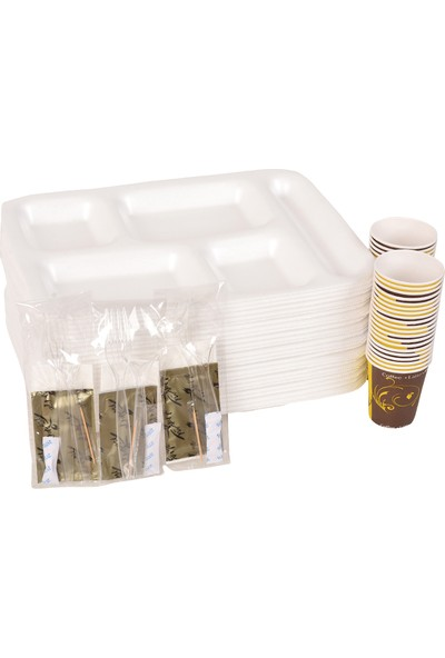 Smartpack Piknik Seti 100 Adet Beş Gözlü Köpük Tabak, 100 Adet Karton Bardak, 100 Adet 6'lı Lüx Set (Kaşık, Çatal, Selpak, Islak Mendil, Tuz, Kürdan)