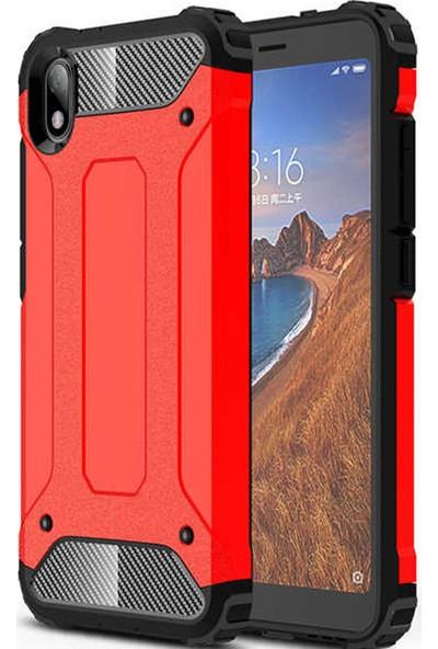 CoverZone Xiaomi Redmi 7A Kılıf Shockproof Zırh Koruma Kırmızı