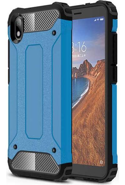 CoverZone Xiaomi Redmi 7A Kılıf Shockproof Zırh Koruma + Nano Ekran Koruma + Dokunmatik Kalem Mavi