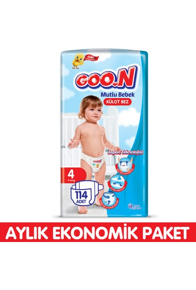 Goon Mutlu Bebek Külot Bez 4 Beden Aylık Ekonomik Paket 114 Adet