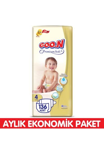Goon Premium Soft Bebek Bezi 4 Beden Aylık Ekonomik Paket 136 Adet