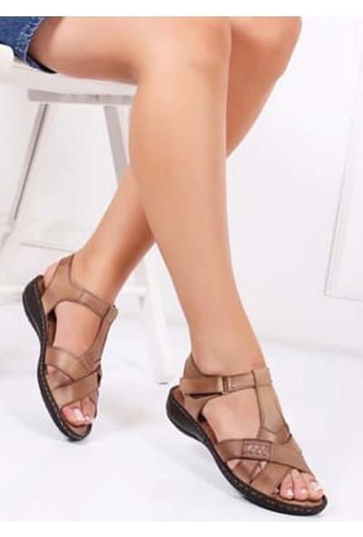 Tarçın Hakiki Deri Vizon Günlük Kadın Sandalet Ayakkabı Trc119-0111