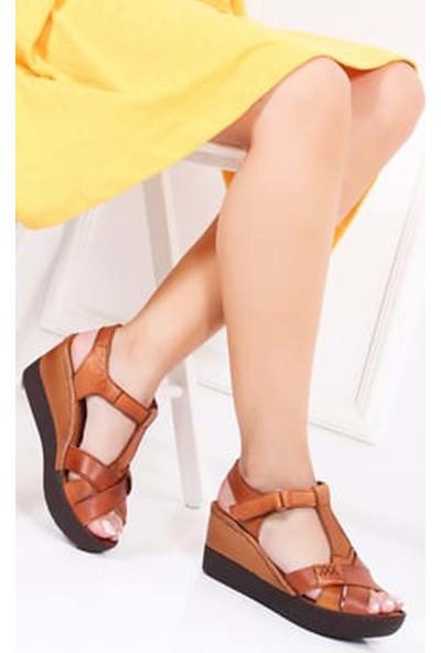 Tarçın Hakiki Deri Taba Günlük Kadın Dolgu Sandalet Ayakkabı Trc119-0116