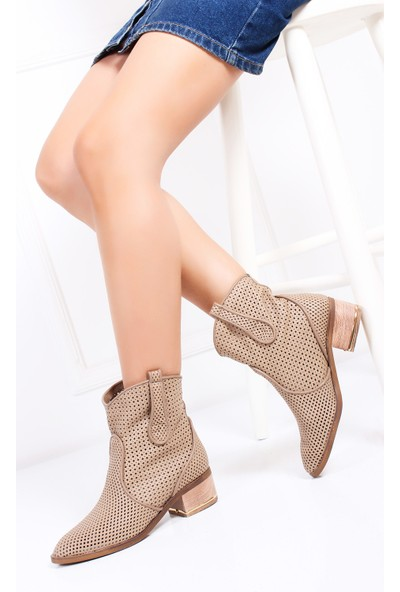 Tarçın Hakiki Deri Bej Günlük Kadın Topuklu Yaz Çizmesi Trc132-2012