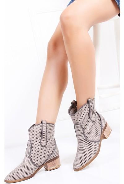 Tarçın Hakiki Deri Gri Nubuk Günlük Kadın Topuklu Yaz Çizmesi Trc132-2012