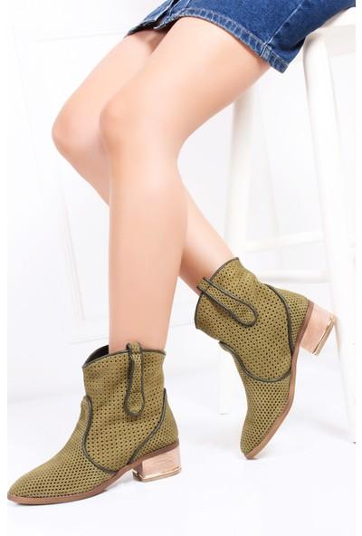 Tarçın Hakiki Deri Haki Nubuk Günlük Kadın Topuklu Yaz Çizmesi Trc132-2012