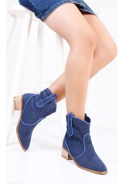 Tarçın Hakiki Deri Lacivert Nubuk Günlük Kadın Topuklu Yaz Çizmesi Trc132-2012