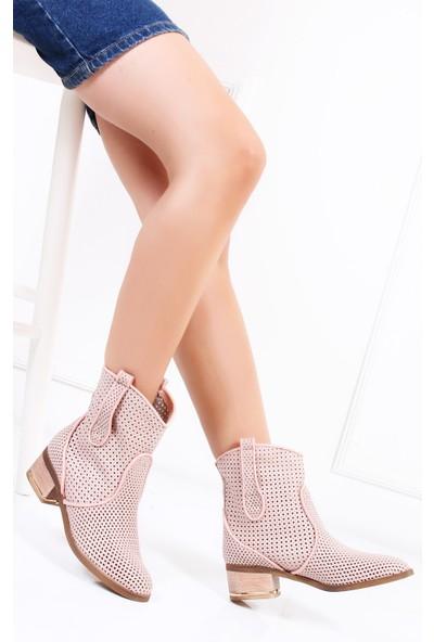 Tarçın Hakiki Deri Pudra Nubuk Günlük Kadın Topuklu Yaz Çizmesi Trc132-2012