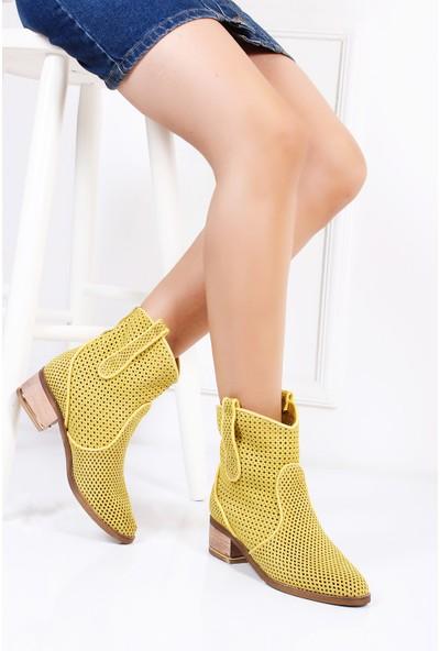 Tarçın Hakiki Deri Sarı Nubuk Günlük Kadın Topuklu Yaz Çizmesi Trc132-2012