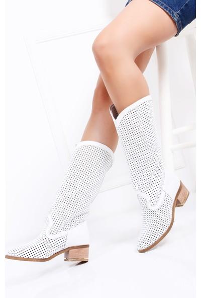Tarçın Hakiki Deri Beyaz Günlük Kadın Topuklu Yaz Çizmesi Trc132-2013