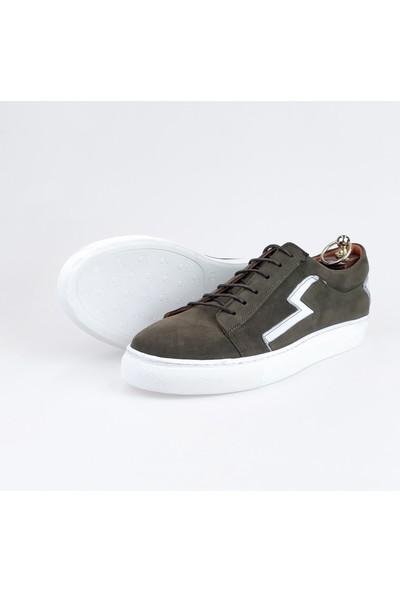 Silvio Massimo Süet Erkek Ayakkabı - Olite - Haki-Beyaz