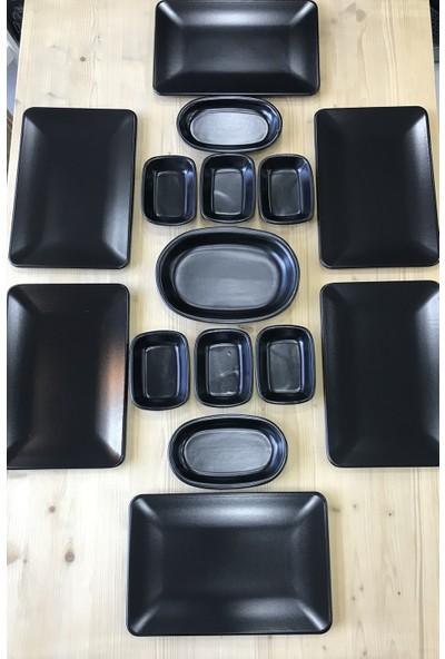 Keramika Kare 15 Parça 6 Kişilik Kahvaltı Ikram Seti Mat Siyah