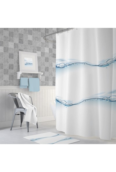 Zethome Tropik Waterdrop Banyo Duş Perdesi Tek Kanat 1 x 180 x 200 cm
