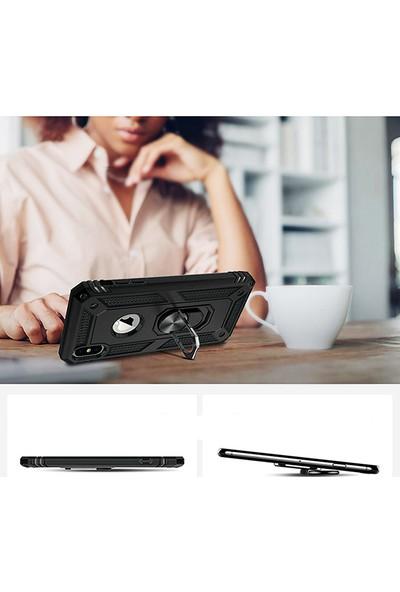 LionTech Apple iPhone XS Max Kılıf Zırh Koruma Yüzüklü Standlı Armor Silikon Kapak Siyah