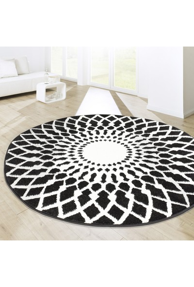 Koza Halı Essence Modern Halı Oval Halı Siyah-Beyaz 35361A