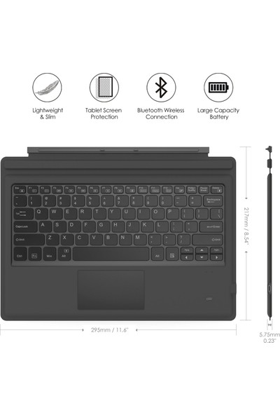 Moko Microsoft Ultra-Slim Wireless Bluetooth Keyboard - Siyah Yeşil