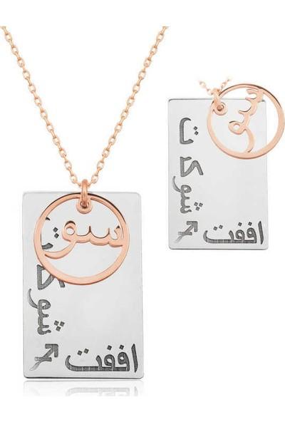 Tesbihayal Gümüş Arapça Sev Şükret Affet Yazılı Kolye