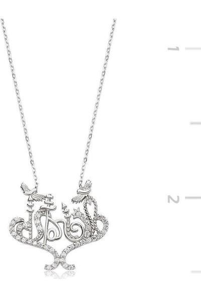 Tesbihayal Gümüş İstanbul Yazılı Bayan Kolye