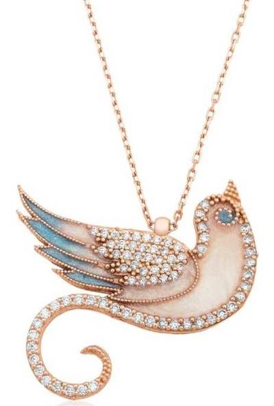 Tesbihayal Pt2610793 Gümüş Zümrüdü Anka Kuşu Bayan Kolye