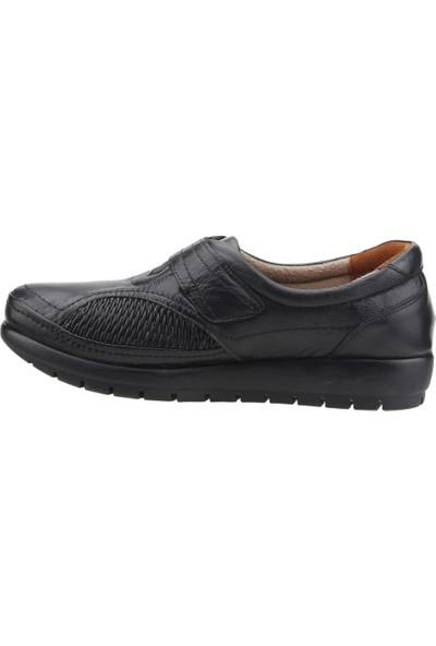 Muya 88011-3352 Günlük Deri Babet Anne Ayakkabısı Siyah