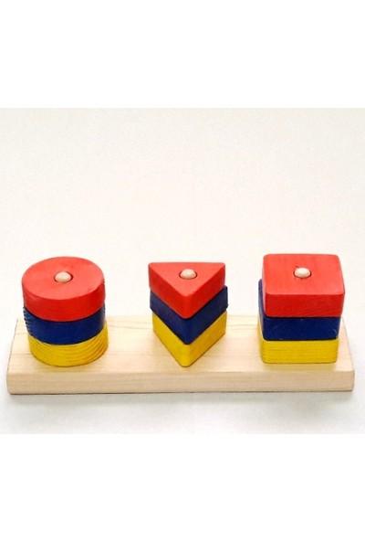 İcat Çıkartıyoruz Şekilli Bultak Ahşap Eğitici Oyuncak 3'lü - Renkli