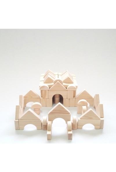 İcat Çıkartıyoruz Yapı Blokları 100 Parça Eğitici Ahşap Oyuncak - Doğal