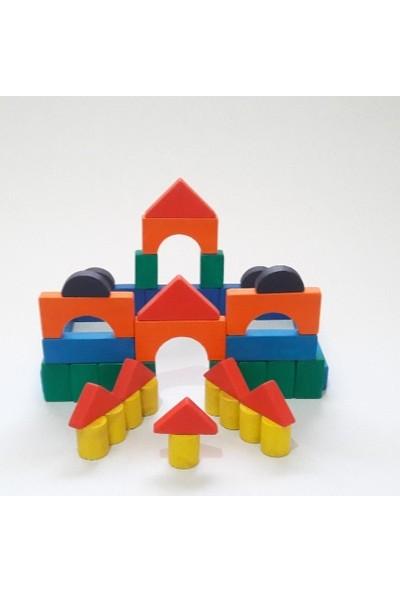 İcat Çıkartıyoruz Yapı Blokları 100 Parça Eğitici Ahşap Oyuncak - Renkli