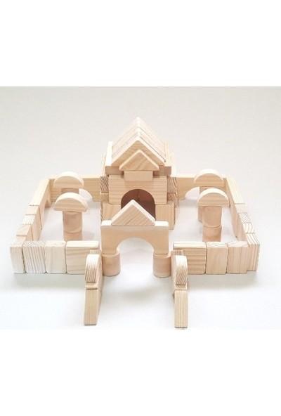 İcat Çıkartıyoruz Yapı Blokları 65 Parça Eğitici Ahşap Oyuncak - Doğal