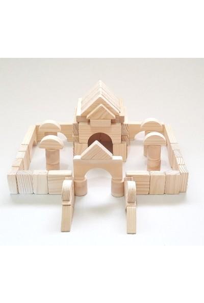 İcat Çıkartıyoruz Yapı Blokları 80 Parça Eğitici Ahşap Oyuncak - Doğal