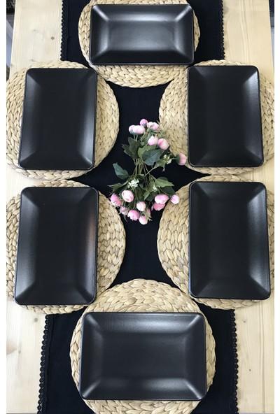 Keramika 6 Adet 31 x 21 cm Mat Siyah Kayık Servis Tabağı