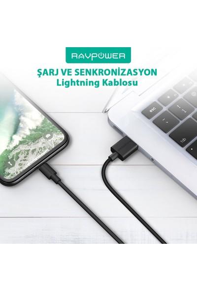 RAVPower RP-CB029 20 cm Apple MFI Lisanslı Lightning Şarj/Data Kablosu Siyah, 75-01000-114