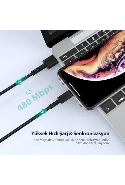 RAVPower RP-CB042 2 metre Naylon Örgülü Apple MFI Lisanslı Lightning Şarj/Data Kablosu Siyah, 75-01000-133