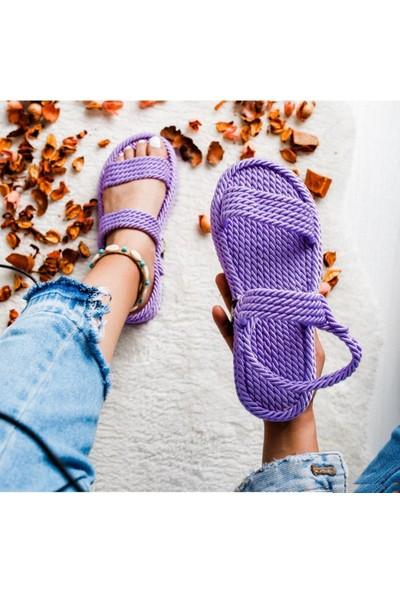Limoya Kelli Lila Tek Bantlı Kalın Tabanlı Halat Sandalet