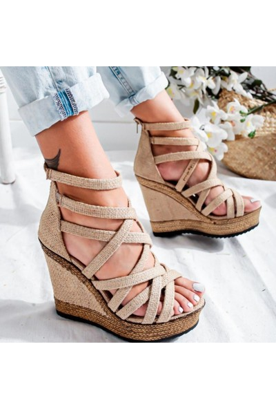 Limoya Vilma Hasır Dolgu Topuklu Kafesli Ayakkabı