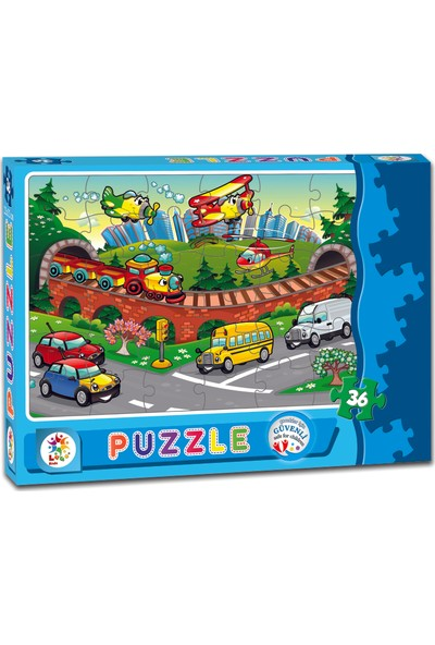 Laço Taşıtlar 36 Parça Çocuk Puzzle