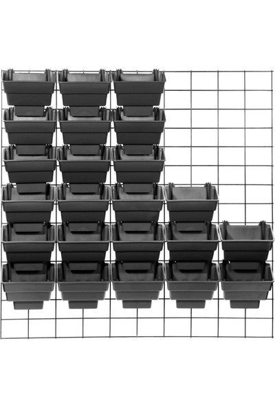 Ekoplas Wall Garden Modüler Duvar Bahçe Sistemi 30 Saksılı Siyah Renk 1 m2