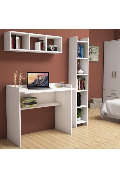 Bimossa Nurbanu Beyaz Çalışma Masası Kitaplık Raflı 90 cm U1040