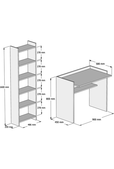 Bimossa Kösem Beyaz Çalışma Masası Kitaplıklı 90 cm T2040